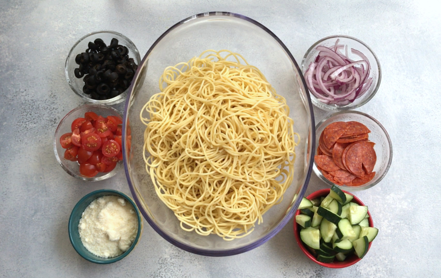 Italian Spaghetti Pasta Salad - Ingredients