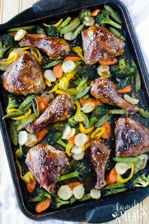 Teriyaki Chicken Sheet Pan Dinner Recipe - Family Fresh Meals
