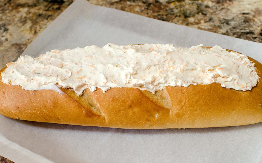 Beer Dip Stuffed Bread - cream cheese mixture in bread loaf
