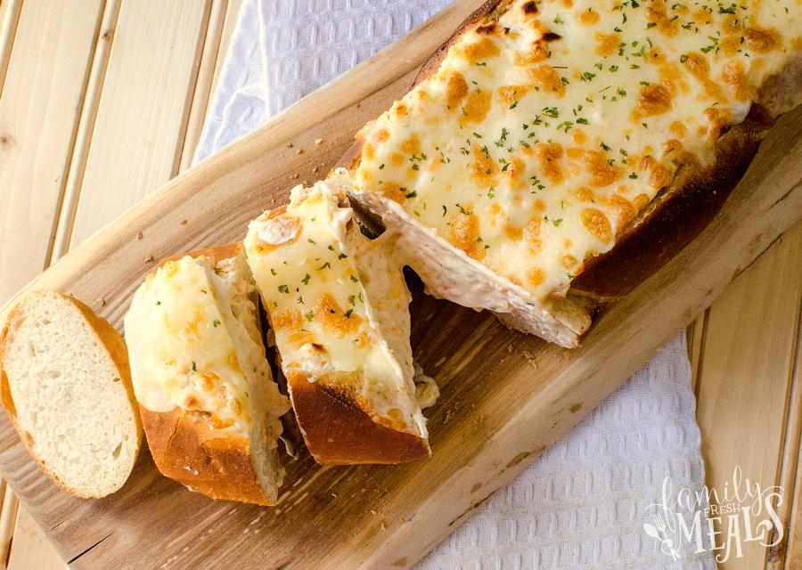 Beer Dip Stuffed Bread - Cheesy bread appetizer recipe