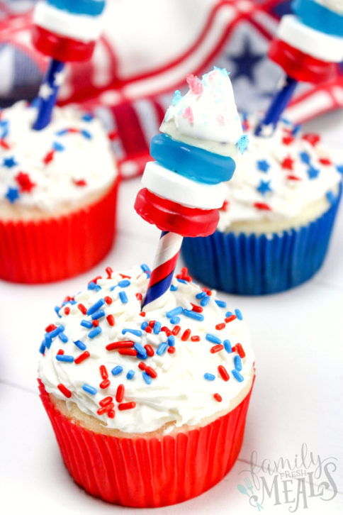 4th of July Fireworks Cupcakes - Family Fresh Meals