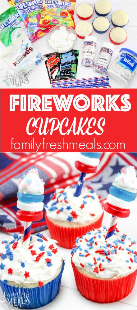 4th of July Fireworks Cupcakes #familyfreshmeals #firework #cupcakes #4thofjuly #summerdessert #redwhiteandblue #patriotic #memorialday #dessert via @familyfresh