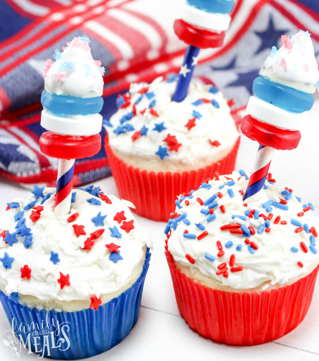 4th of July Fireworks Cupcakes Recipe. - Family Fresh Meals