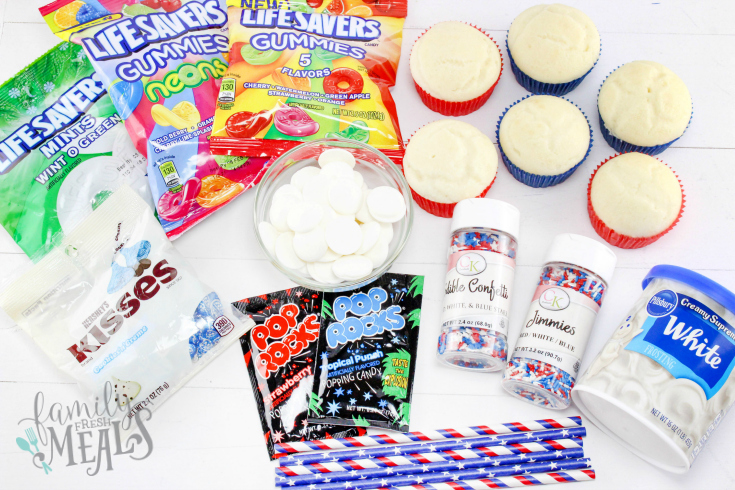 4th of July Fireworks Cupcakes Recipe.- Ingredients - Family Fresh Meals