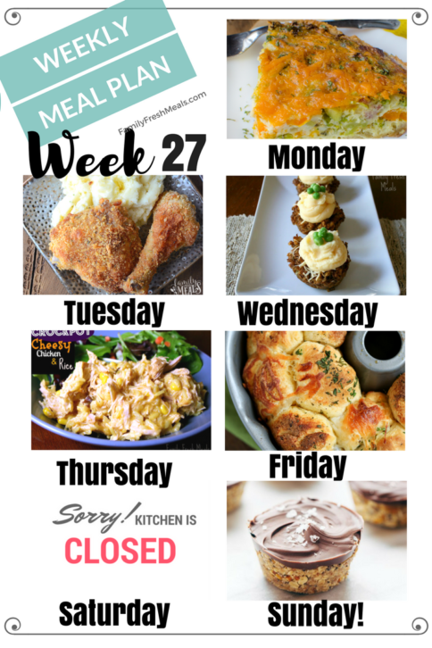Easy Weekly Meal Plan Week 27