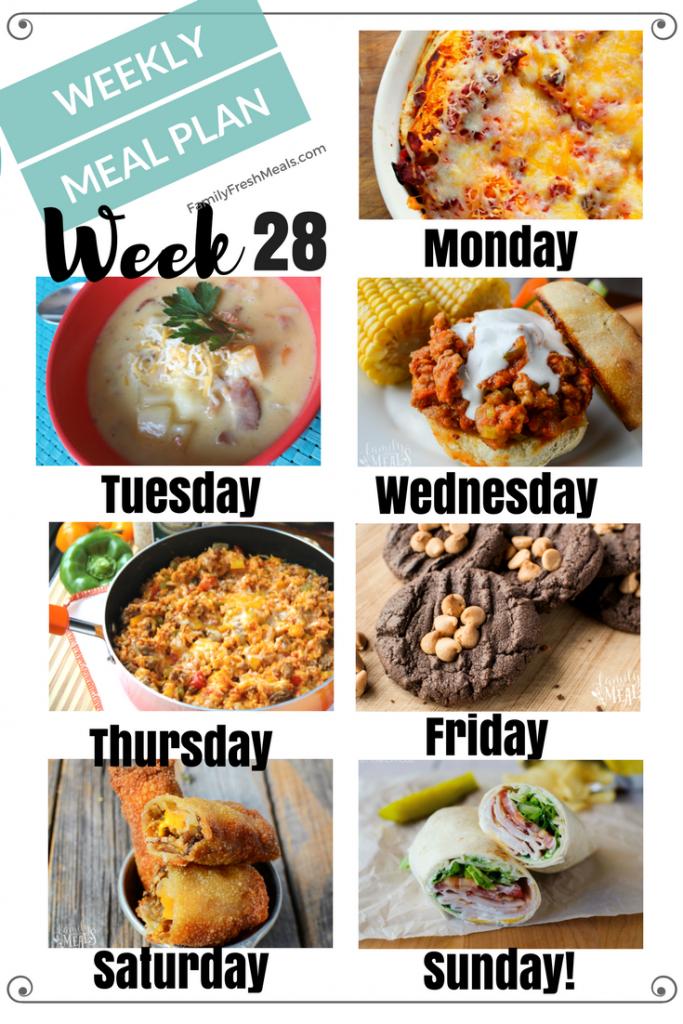 Easy Weekly Meal Plan Week 28
