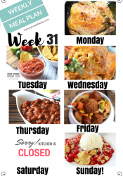 Easy Weekly Meal Plan Week 31