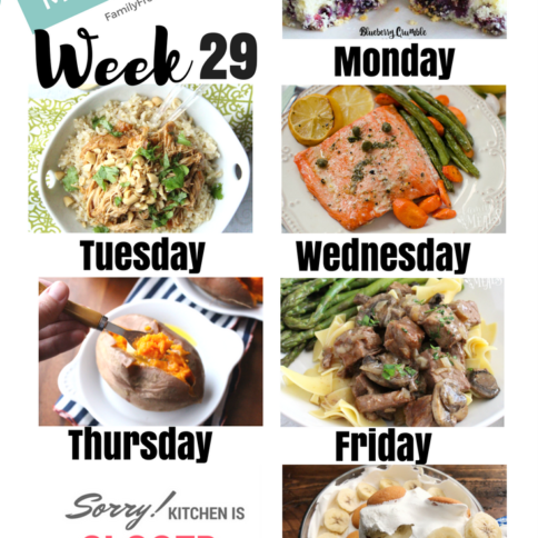 Easy Weekly Meal Plan Week 29