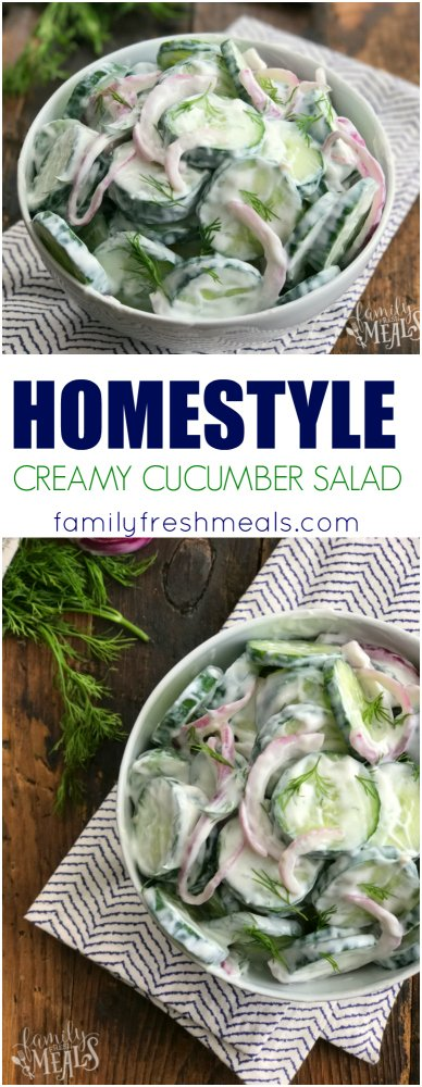 Homestyle Creamy Cucumber Salad Recipe - Yummy- Family Fresh Meals