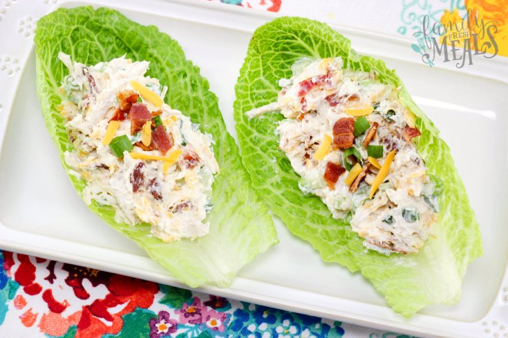 Loaded Chicken Salad served on lettuce cups