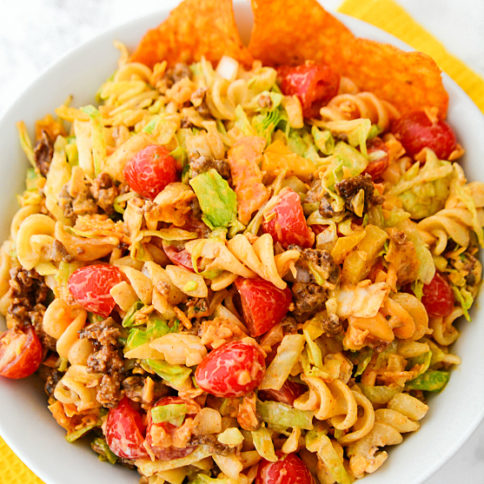 Easy Taco Pasta Salad Recipe - served in a white bowl