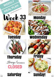 Easy Weekly Meal Plan Week 33