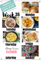 Easy Weekly Meal Plan Week 35
