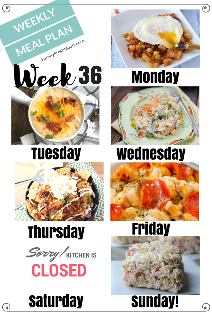 Easy Weekly Meal Plan Week 36 Family Fresh Meals