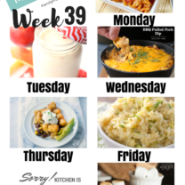 Easy Weekly Meal Plan Week 39