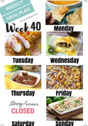 Easy Weekly Meal Plan Week 40