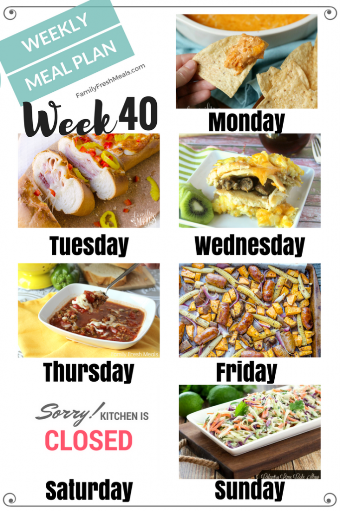 Easy Weekly Meal Plan Week 40 - Family Fresh Meals