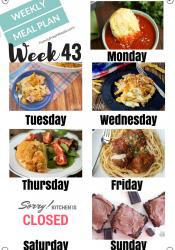 Easy Weekly Meal Plan Week 43