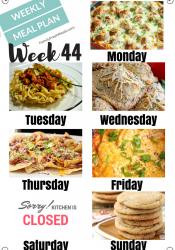 Easy Weekly Meal Plan Week 44