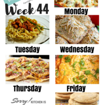 Easy Weekly Meal Plan Week 44