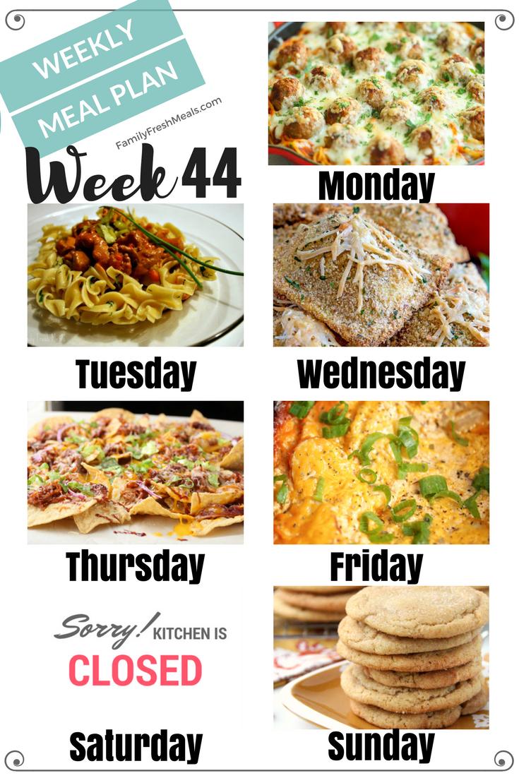 Easy Weekly Meal Plan Week 44 Family Fresh Meals