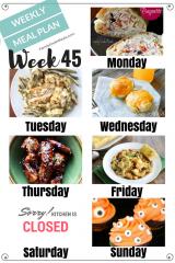 Easy Weekly Meal Plan Week 45