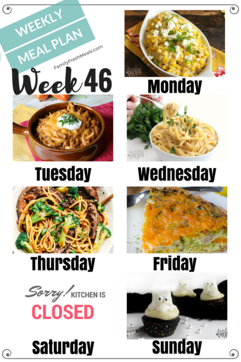 Easy Weekly Meal Plan Week 46 - Family Fresh Meals