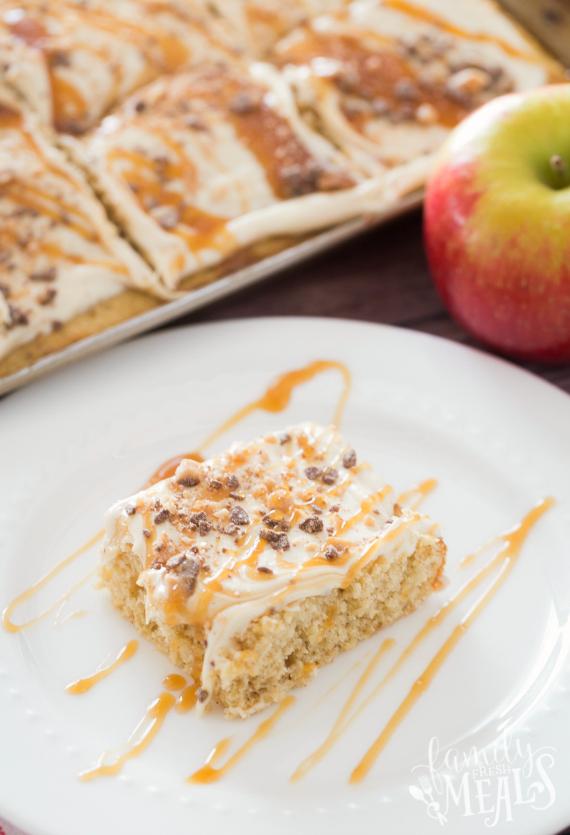 Caramel Apple Sheet Cake Recipe -- Family Fresh Meals