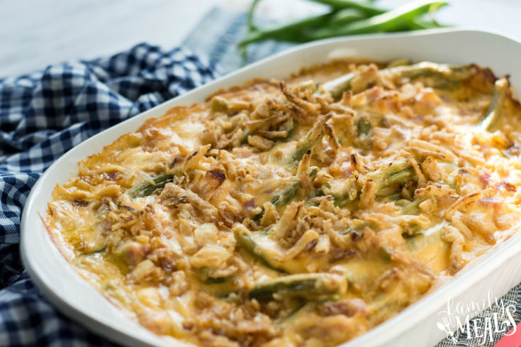 Cheesy Ham Green Bean Casserole - Cooked ham casserole in a white dish