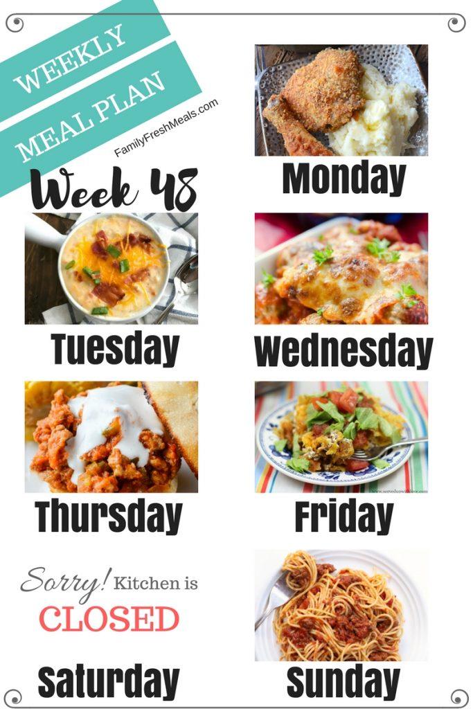 Easy Weekly Meal Plan Week 48 - Family Fresh Meals