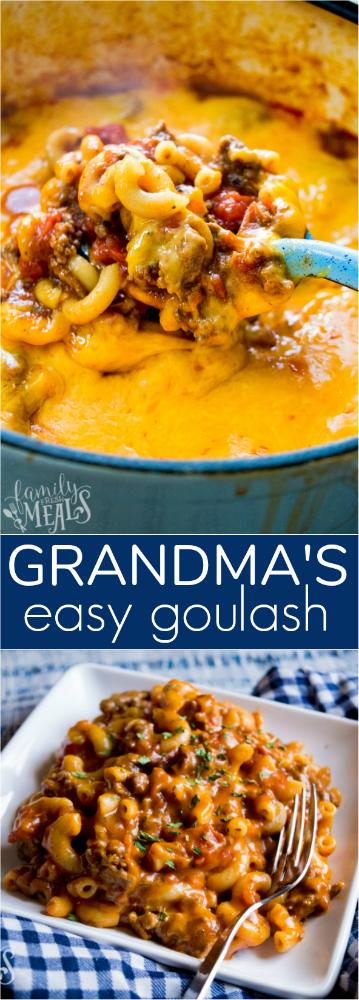 Grandma's Easy Goulash Recipe #goulash #goulashrecipeseasy #easyrecipe #familyfreshmeals #dinner #onepot #dinnerrecipes #dinnerideas #groundbeef #groundbeefrecipes #goulash via @familyfresh