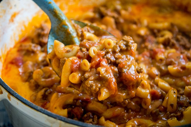 Grandma's Easy Goulash Recipe - Scooped up in a serving spoon - Family Fresh Meals