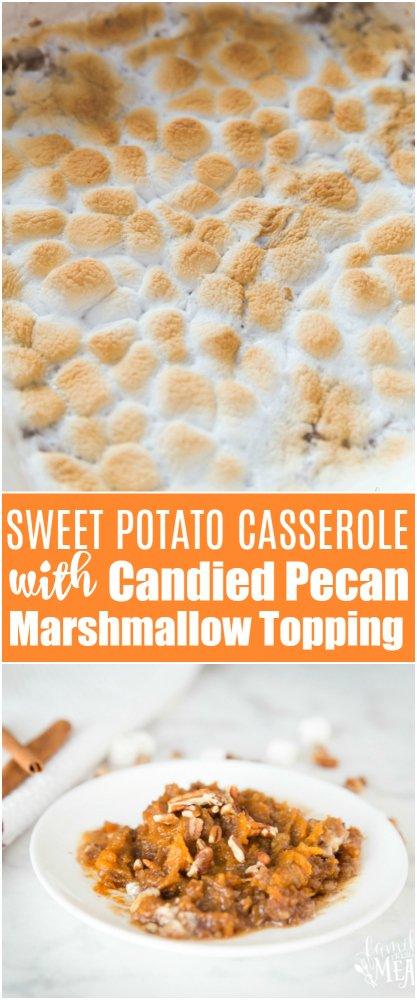 Sweet Potato Casserole with Candied Pecan Marshmallow Topping Recipe --- Family Fresh Meals -