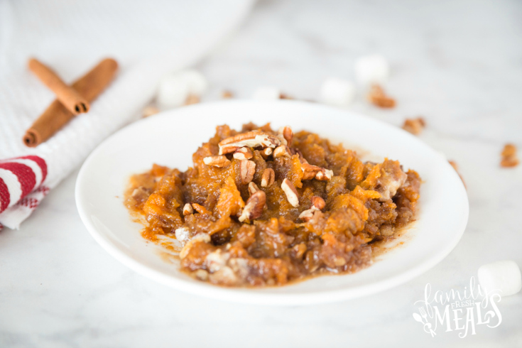 Sweet Potato Casserole with Candied Pecan Marshmallow Topping Recipe - Family Fresh Meals