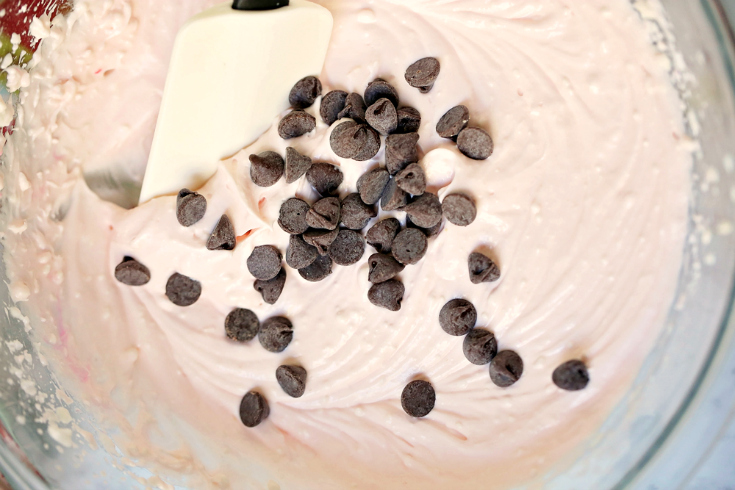 Creamy Peppermint Dip - Ingredients mixed with chocolate chips
