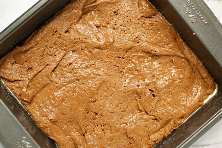 Gingerbread Cookie Bars - Batter in pan