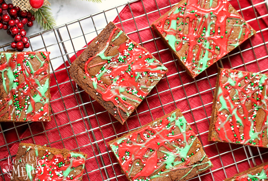 Gingerbread Cookie Bars - Cookie bars on cooling rack