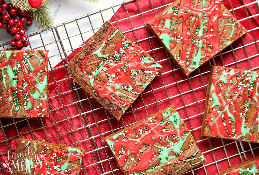 Gingerbread Cookie Bars - Cookie bars on cooling rack