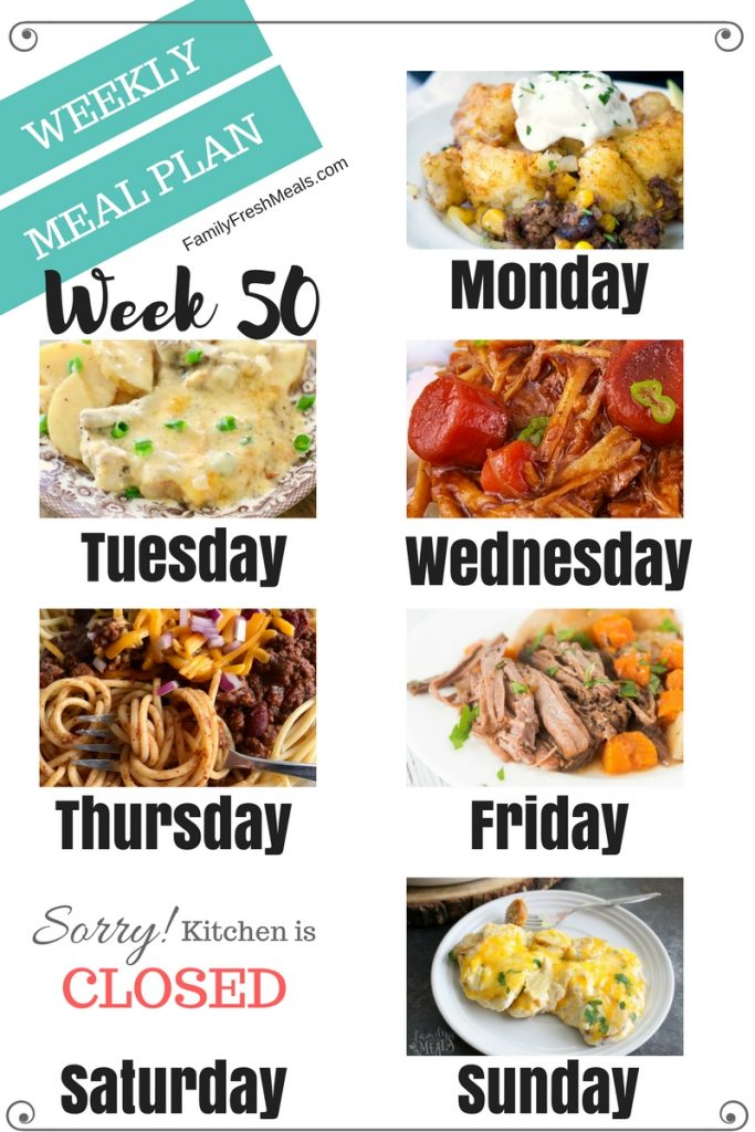 Easy Weekly Meal Plan Week 50 - Family Fresh Meals