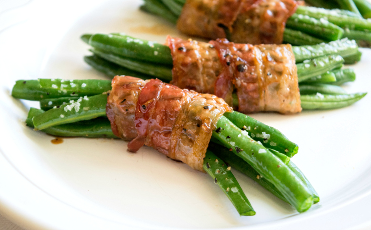 Bacon Wrapped Green Bean Bundles - Served on a plate