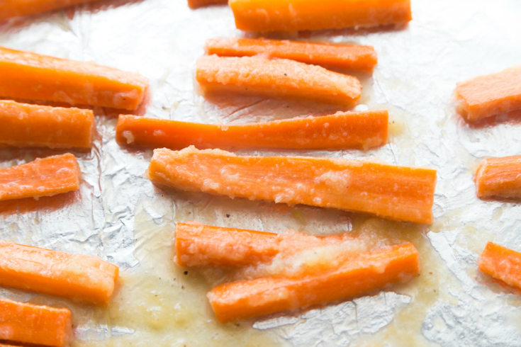 Honey Garlic Roasted Carrots - Carrots on baking sheet