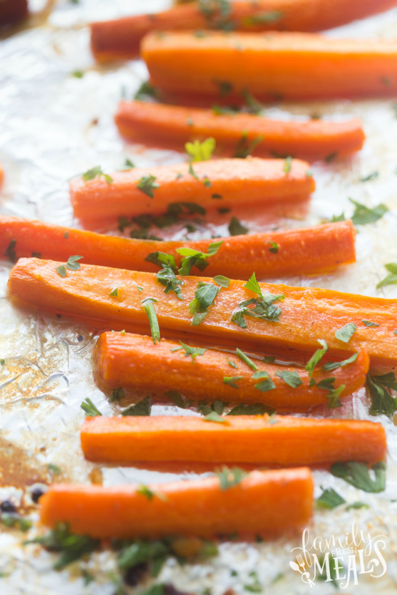 Honey Garlic Roasted Carrots - Cooked on baking sheet