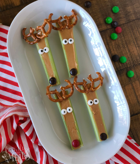 Super fun Reindeer Snacks - On a white plate