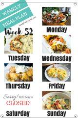 Easy Weekly Meal Plan Week 52