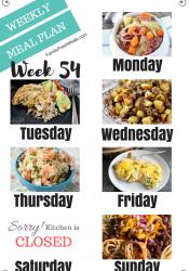 Easy Weekly Meal Plan Week 54