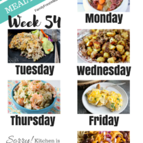 Easy Weekly Meal Plan Week 54