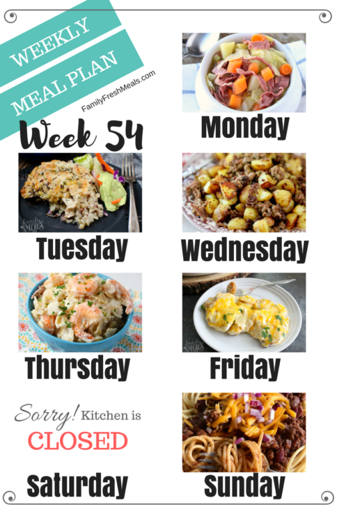 Easy Weekly Meal Plan Week 54 - Family Fresh Meals