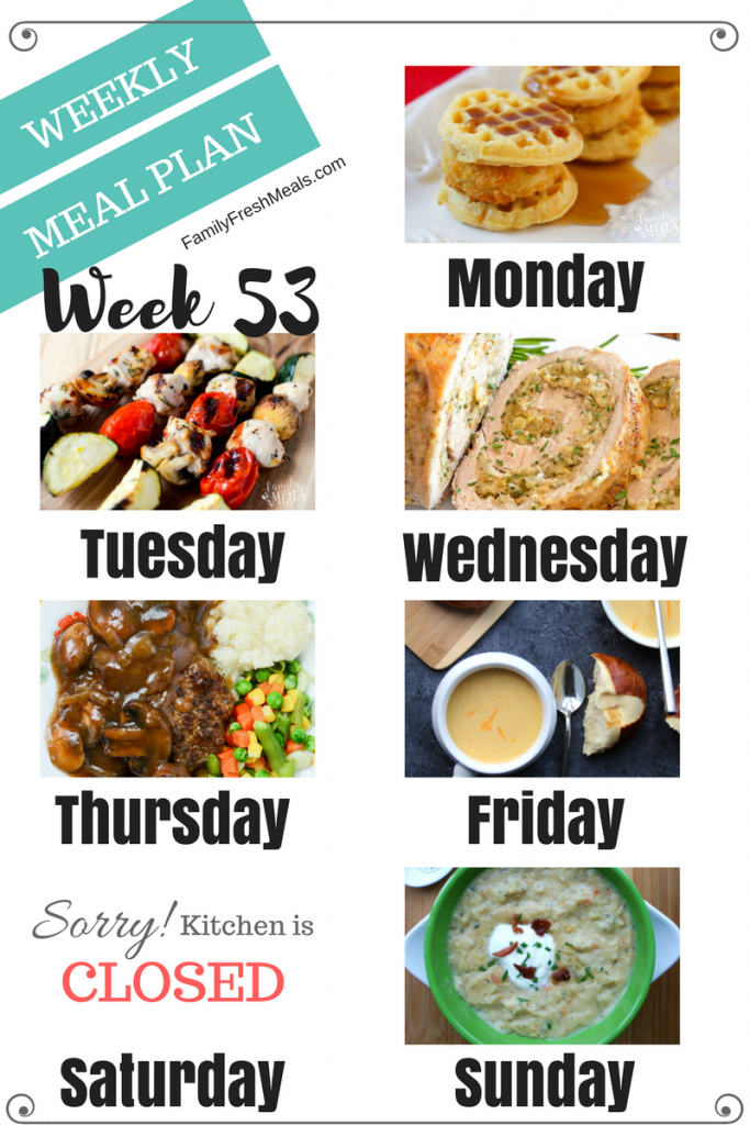 Easy Weekly Meal Plan Week 53 - Family Fresh Meals