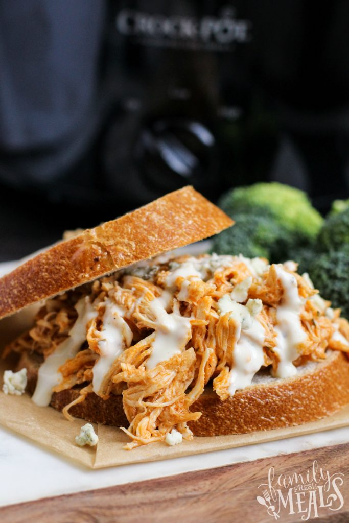 Crockpot Buffalo Chicken Sandwiches - Family Fresh Meals