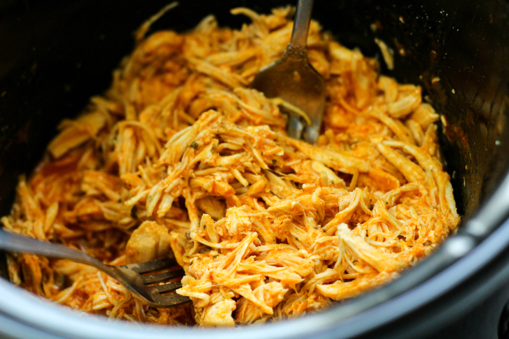 Crockpot Buffalo Chicken Sandwiches - Shred chicken in crockpot